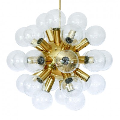 Huge Sputnik Glass & Brass Chandelier By J.T. Kalmar