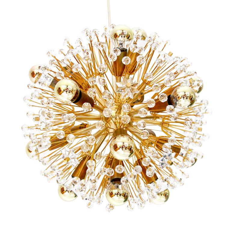 Gold-Plated Blowball Sputnik Chandelier Emil Stejnar Rupert Nikoll