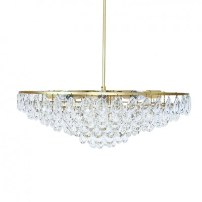 Gilded Brass & Teardrop Crystal Glass Chandelier by Palwa