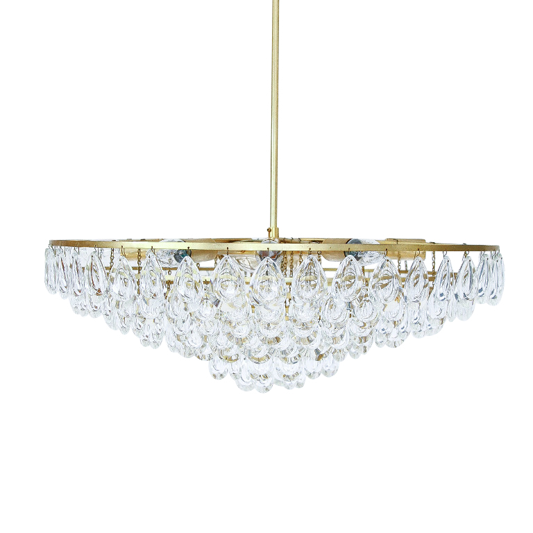 Gilded Brass & Teardrop Crystal Glass Chandelier by Palwa