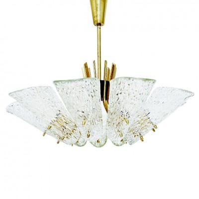 J.T. Kalmar Textured Glass and Brass 9-Arm Chandelier